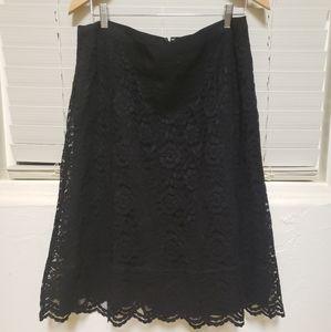 Old Navy Black Lace Trumpet Knee Length Skirt